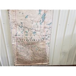NO RESERVE VINTAGE RARE EXTRA LARGE MAP OF SASKATCHEWAN