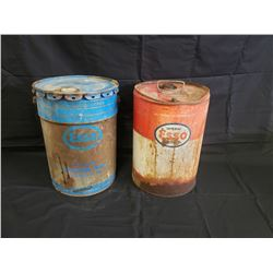 NO RESERVE VINTAGE COLLECTIBLE 5 GALLON ESSO OIL BARRELS TWO SELLING AS ONE LOT