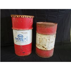 NO RESERVE VINTAGE COLLECTIBLE 13 GALLON ESSO BARREL TWO SELLING AS ONE LOT