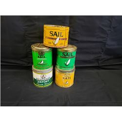 NO RESERVE VINTAGE SAIL PIPE TOBACCO TINS FIVE SELLING AS ONE LOT