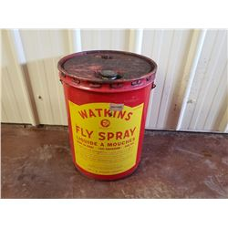 NO RESERVE WATKINS FLY SPRAY VINTAGE 5 GALLON BARREL