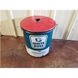 NO RESERVE VINTAGE, RARE COLLECTIBLE WHITE ROSE GAS CAN