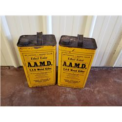 NO RESERVE TWO VINTAGE CANS AAMD WEED KILLER SELLING AS ONE LOT