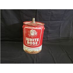 NO RESERVE VINTAGE AND VERY RARE WHITE ROSE CAN 5 GALLON