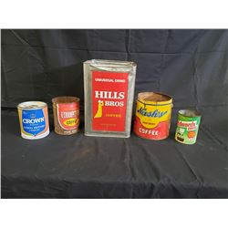 NO RESERVE ASSORTED COLLECTIBLE VINTAGE SYRUP  COFFEE CANS 5 SELLING AS ONE LOT