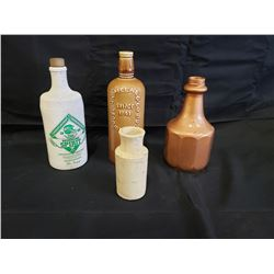 NO RESERVE VINTAGE ASSORTED CERAMIC BOTTLES FOUR SELLING AS ONE LOT