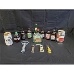 NO RESERVE COLLECTIBLE VINTAGE LIQUOR BOTTLES, CANS AND OPENERS