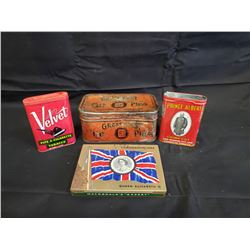 NO RESERVE VINTAGE COLLECTIBLE TOBACCO TINS FOUR SELLING AS ONE LOT