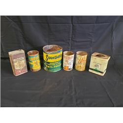 NO RESERVE SIX VINTAGE COLLECTIBLE CANS SELLING AS ONE LOT