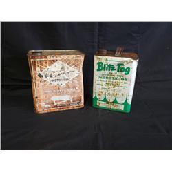 NO RESERVE 1 GALLON BLITZ FOG AND VEEDOL CANS