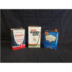 NO RESERVE VINTAGE COLLECTIBLE ONE GALLON CASTROL, CAPRI AND HYDEGRE CANS