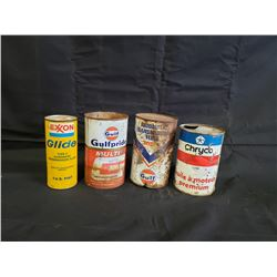 NO RESERVE COLLECTION OF FOUR VINTAGE CANS GULF, EXXON , CHRYCO