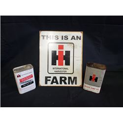 NO RESERVE INTERNATIONAL HARVESTER FARM SIGN AND 2 IH OIL CANS