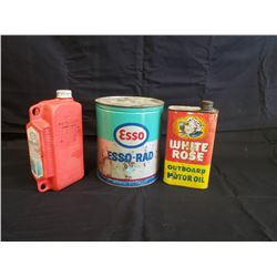 NO RESERVE ESSO AND WHITE ROSE VINTAGE AND RARE COLLECTIBLE CANS