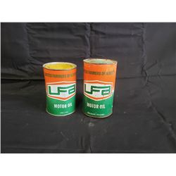 NO RESERVE VINTAGE RARE UFA MOTOR OIL CANS ONE UNOPENED TWO SELLING AS ONE LOT