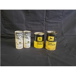 JOHN DEERE VINTAGE COLLECTIBLE CANS FOUR SELLING AS ONE LOT