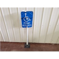 NO RESERVE DISABLED PARKING SIGN 4 FT TALL ON BASE