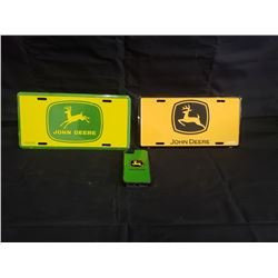 NO RESERVE TWO JOHN DEERE LICENSE PLATES AND ONE 1 PHONE CASE
