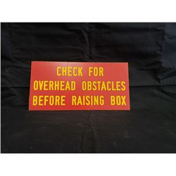NO RESERVE CHECK FOR OBSTACLES SIGN