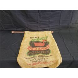 NO RESERVE COLLECTIBLE RED SWAN POTATOE BAG TURNED FLAG