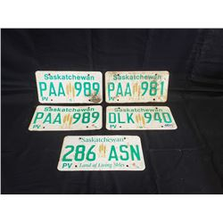NO RESERVE SET OF 5  SASKATCHEWAN LICENSE PLATES