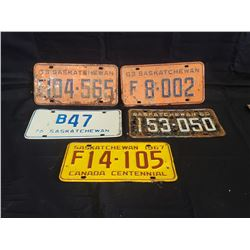 NO RESERVSE OF 5  SASKATCHEWAN LICENSE PLATES 1963-1976 E