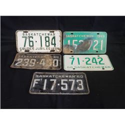 NO RESERVE VINTAGE RARE SET OF 5 SASKATCHEWAN LICENSE PLATE INCLUDING GOLDEN JUBILEE 1955