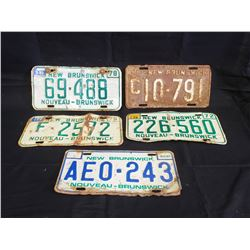 NO RESERVE SET OF FIVE NEW BRUNSWICK LICENSE PLATES