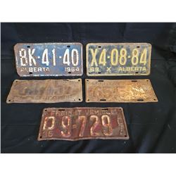 NO RESERVE SET OF 5 VINTAGE RARE ALBERTA LICENSE PLATES