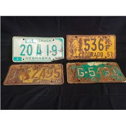 NO RESERVE SET OF 4 ANTIQUE AMERICAN LICENSE PLATES