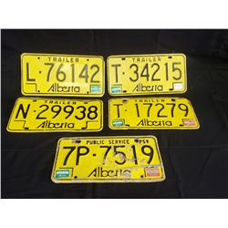 NO RESERVE SET OF 4 ALBERTA TRAILER PLATES WITH 1 COMMERCIAL PLATE