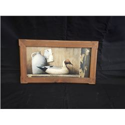 NO RESERVE DUCK PICTURE HARDWOOD FRAME 18x11