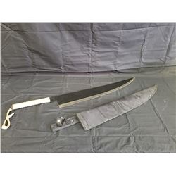 NO RESERVE LARGE KNIFE WITH CASE BLADE LENGTH 30 INCHES