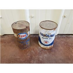 NO RESERVE VINTAGE ESSO AND HAVOLINE BARRELS SELLING TWO AS ONE LOT