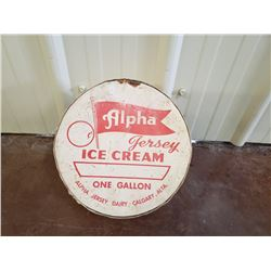 NO RESERVE VINTAGE ALPHA JERSEY ICE CREAM SIGN