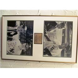 FRAMED BLACK AND WHITE SIGNED MLB PHOTOS - TED WILLIAMS/MICKEY MANTLE AND METRO PRYSTAL/LINUS WESTBU