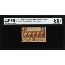 1862 First Issue 25 Cent Fractional Currency Note Fr.1281 PMG Choice Uncirculated 64EPQ