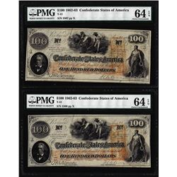 (2) Consecutive 1862 $100 Confederate States of America Notes PMG Ch. Uncirculated 64EPQ
