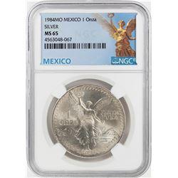 1984Mo Mexico 1 Onza Libertad Silver Coin NGC MS65