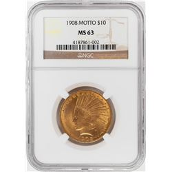 1908 Motto $10 Indian Head Eagle Gold Coin NGC MS63