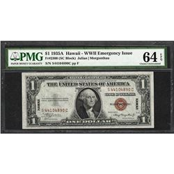 1935A $1 Hawaii Silver Certificate WWII Emergency Note PMG Choice Uncirculated 64EPQ