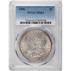 1900 $1 Morgan Silver Dollar Coin PCGS MS63 Amazing Toning