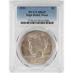 1921 $1 High Relief Peace Silver Dollar Coin PCGS MS62