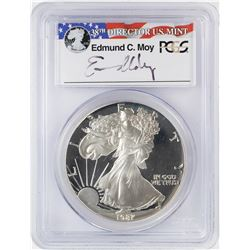 1987-S $1 Proof American Silver Eagle Coin PCGS PR69DCAM Moy Signature