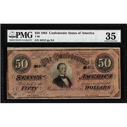 1864 $50 Confederate States of America Note T-66 PMG Choice Very Fine 35