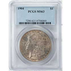 1904 $1 Morgan Silver Dollar Coin PCGS MS63