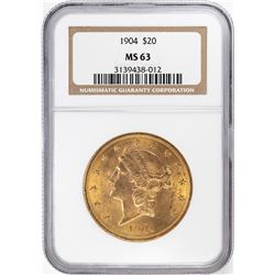 1904 $20 Liberty Head Double Eagle Gold Coin NGC MS63