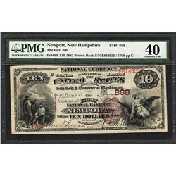 1882BB $10 First NB of Newport, NH CH# 888 National Currency Note PMG Extremely Fine 40