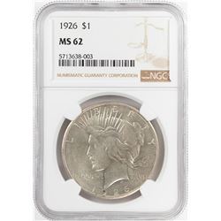 1926 $1 Peace Silver Dollar Coin NGC MS62