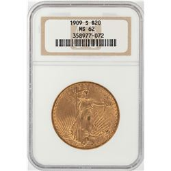 1909-S $20 St. Gaudens Double Eagle Gold Coin NGC MS62